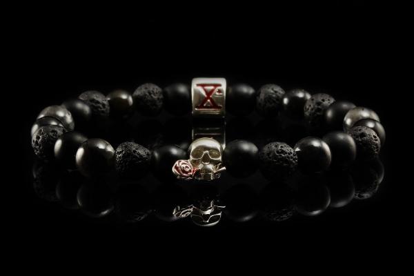 BEADS01 - Black Silver Xª Flottiglia MAS | Beaded Bracelet Naturstein