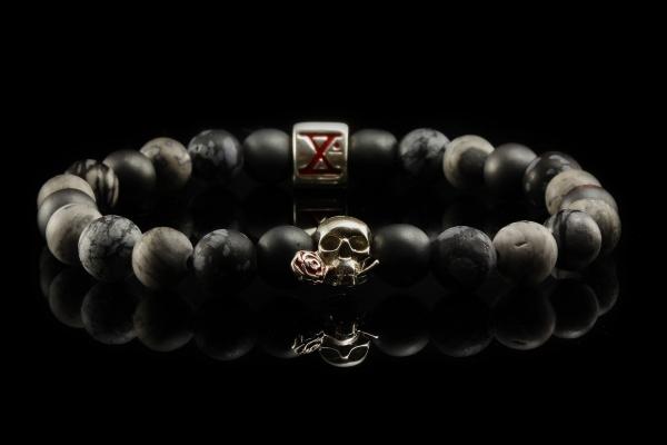 BEADS02 - Gray Silver Xª Flottiglia MAS | Beaded Bracelet Naturstein