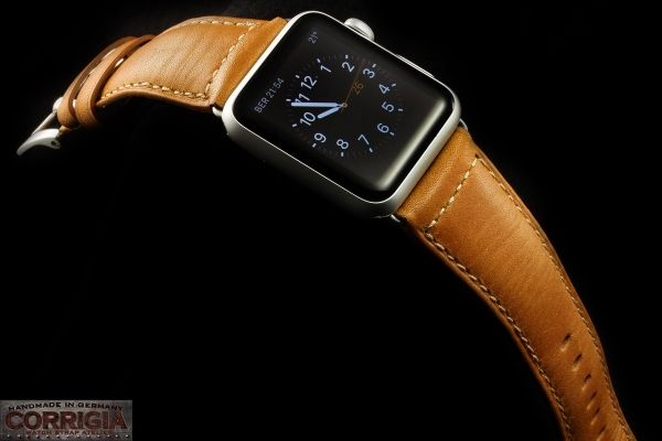Cognac Lederband für Apple Watch