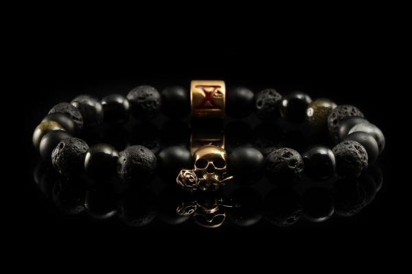 BEADS01 - Black Bronze Xª Flottiglia MAS | Beaded Bracelet Naturstein-Armband