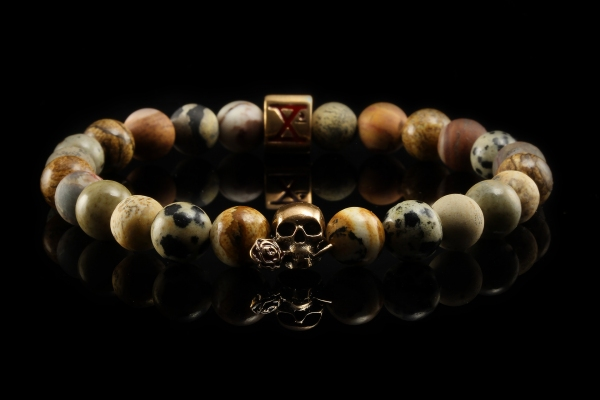 BEADS04 - Tan Bronze Xª Flottiglia MAS | Beaded Bracelet Naturstein-Armband