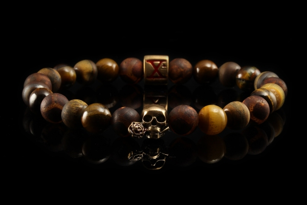 BEADS03 - Brown Bronze Xª Flottiglia MAS | Beaded Bracelet Naturstein-Armband