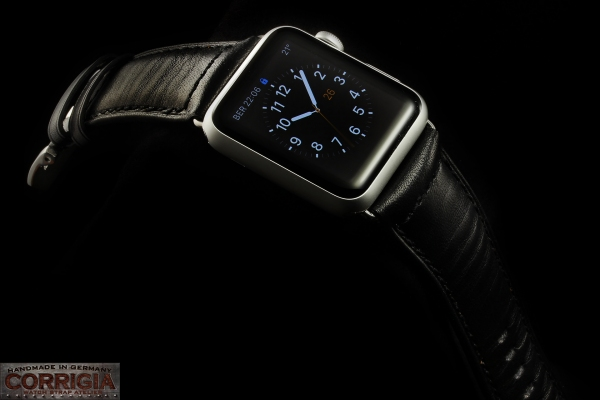 Full-Black Lederband für Apple Watch