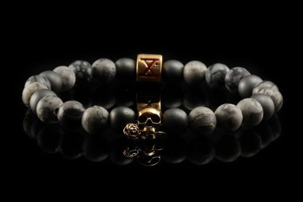 BEADS02 - Gray Bronze Xª Flottiglia MAS | Beaded Bracelet Naturstein-Armband