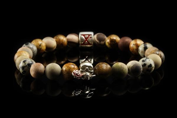 BEADS04 - Tan Silver Xª Flottiglia MAS | Beaded Bracelet Naturstein