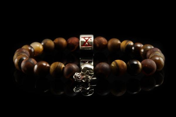 BEADS03 - Brown Silver Xª Flottiglia MAS | Beaded Bracelet Naturstein